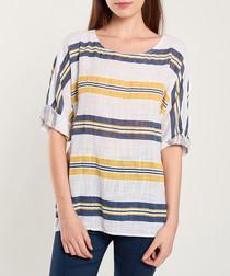Yellow & navy horizontal stripe blouse