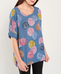 Blue, yellow & pink smudge blouse