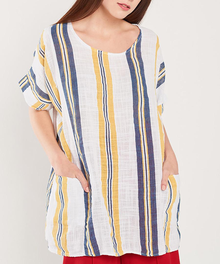 White, navy & yellow stripe blouse Sale - dioxide