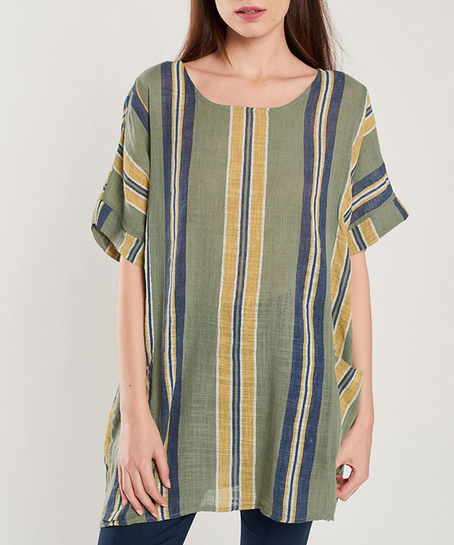 Khaki, navy & yellow stripe blouse Sale - dioxide