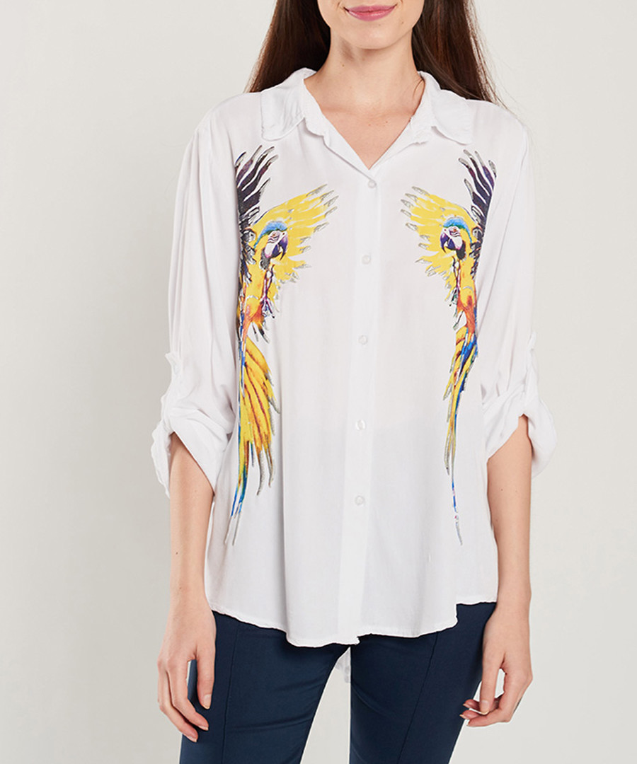 White parrot print blouse Sale - dioxide