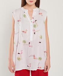 White flamingo print blouse