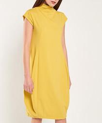 Lemon yellow high-neck dress