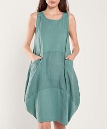 Green cotton blend puff dress