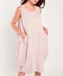 Pink cotton blend puff dress