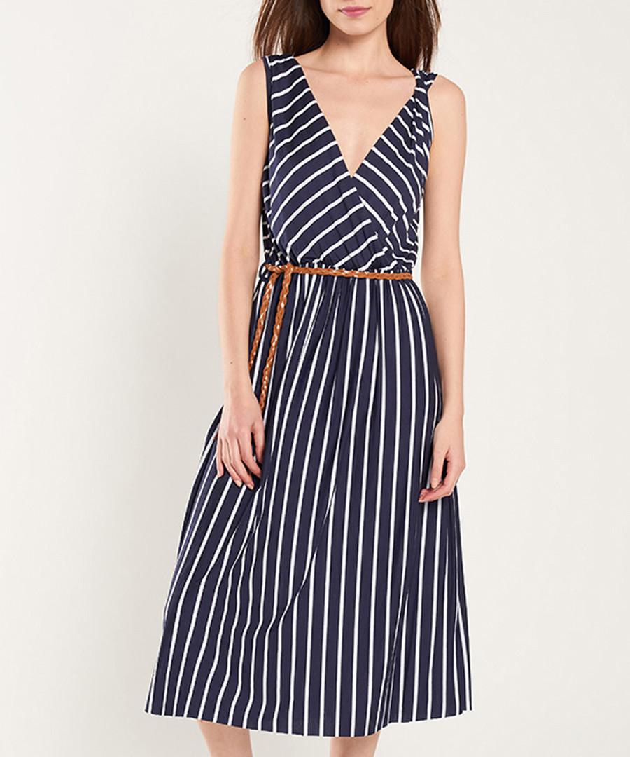 Navy & white stripe midi dress Sale - dioxide