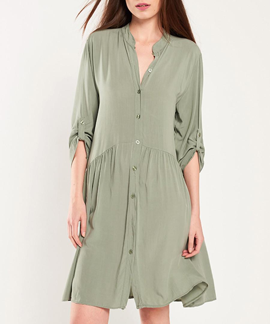 Khaki button-up half-sleeve dress Sale - dioxide