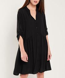 Black button-up half-sleeve dress