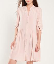 Rose button-up half-sleeve dress
