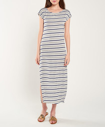 Grey, white & navy stripe maxi dress