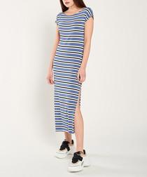 Blue, white & black stripe maxi dress