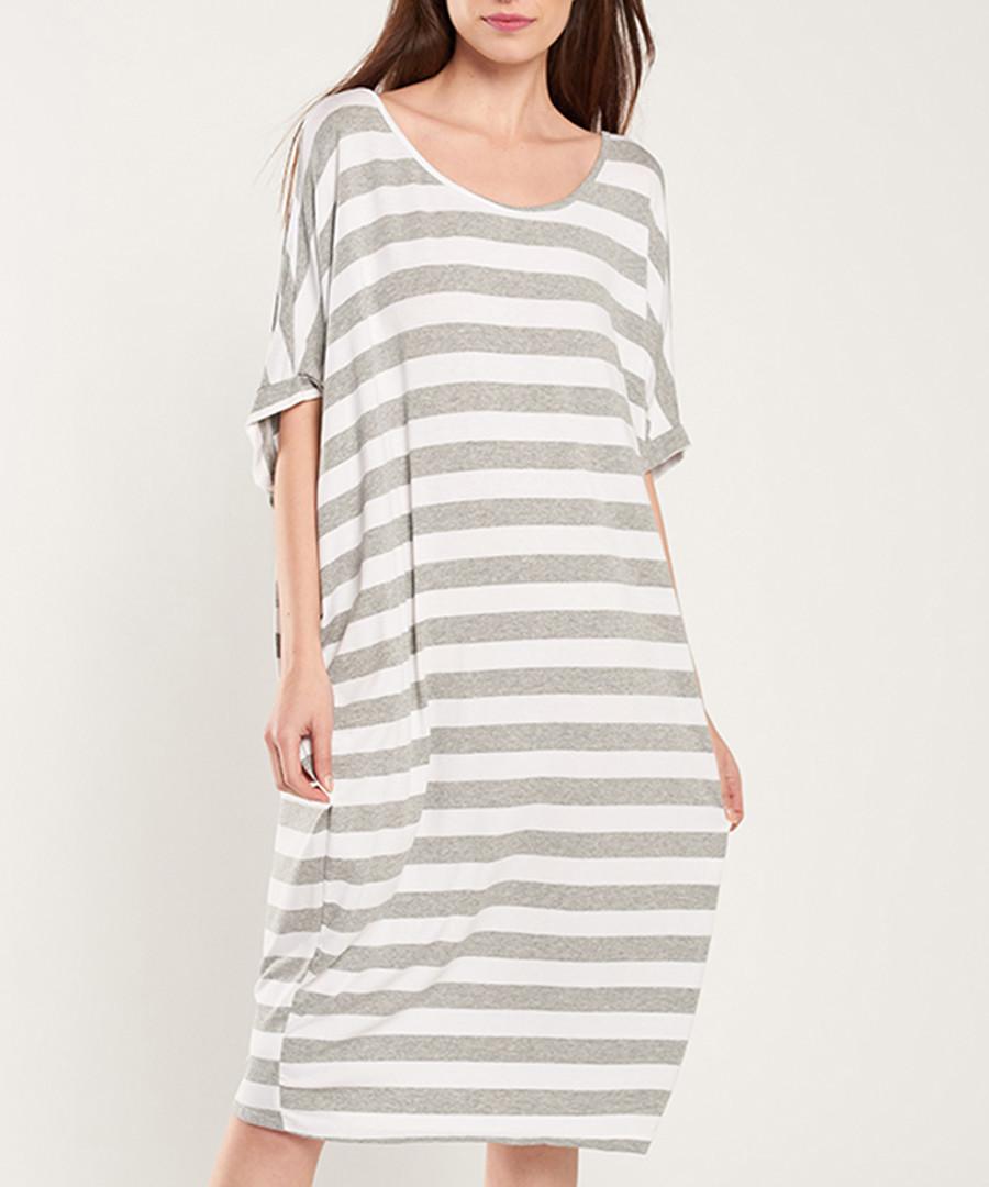 Grey & white stripe midi dress Sale - dioxide