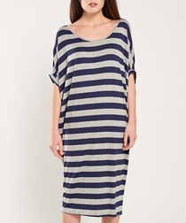 Grey & navy stripe midi dress