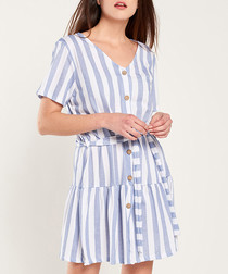 Blue & white stripe button-up mini dress