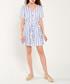 Blue & white stripe button-up mini dress Sale - dioxide Sale