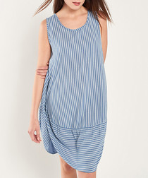 Blue & navy mini stripe shift dress