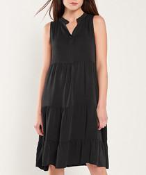 Black sleeveless tiered mini dress