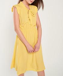 Yellow cap sleeve bow-tie dress