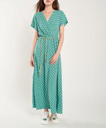 Emerald & green print maxi dress