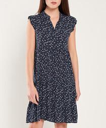 Navy print cap sleeve mini dress