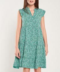 Emerald print cap sleeve mini dress