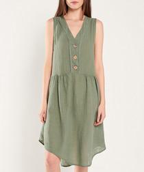 Khaki pure cotton triple button dress