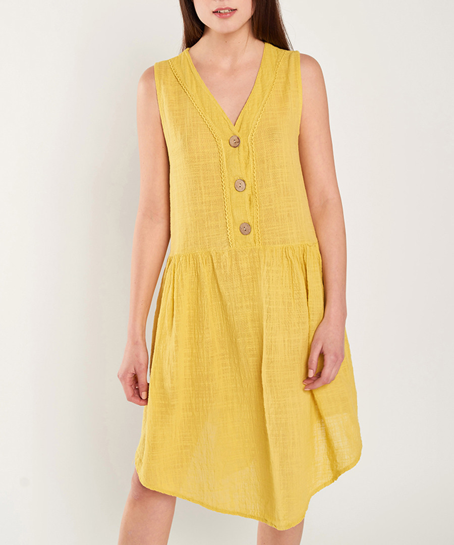 Yellow pure cotton triple button dress Sale - dioxide