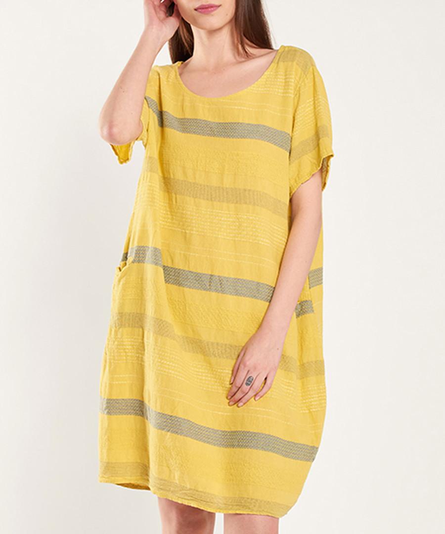 Yellow & grey pure cotton stripe dress Sale - dioxide