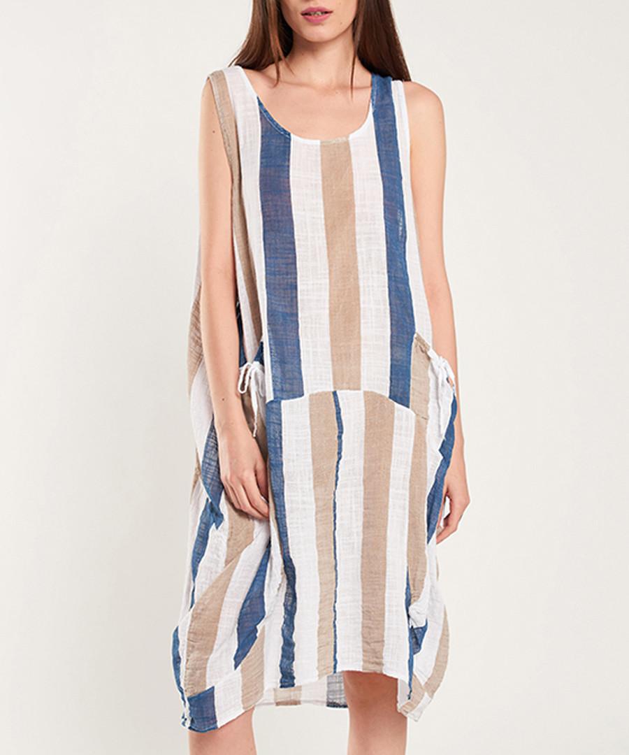 Navy, white & blue cotton stripe dress Sale - dioxide