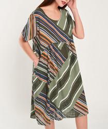 Multi-colour pure cotton empire dress
