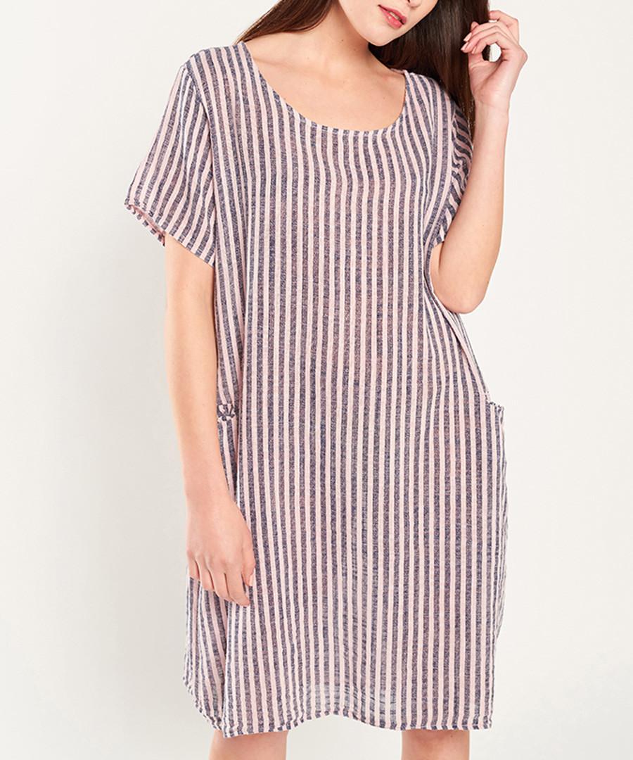 Rose & navy cotton mini stripe dress Sale - dioxide