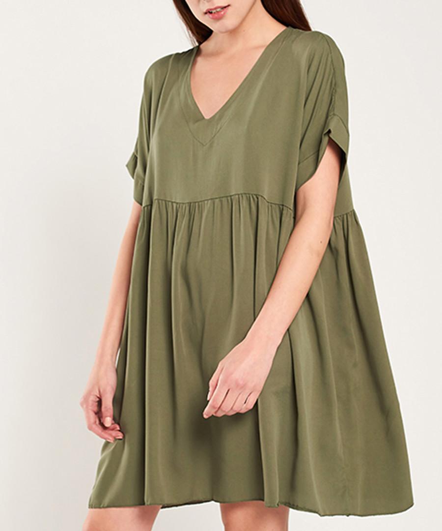 Khaki short sleeve empire line dress Sale - dioxide