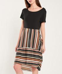 Black & multi-stripe short sleeve dress