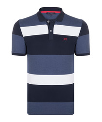 Navy stripe pure cotton polo shirt
