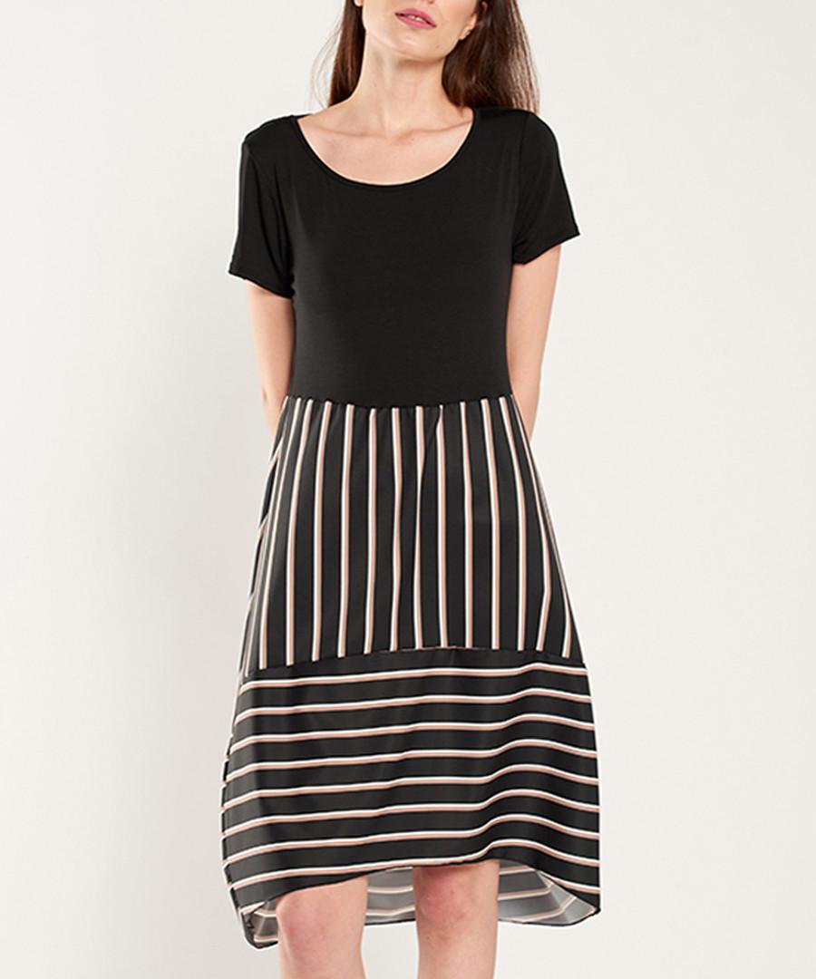 Black & multi-stripe short sleeve dress Sale - dioxide