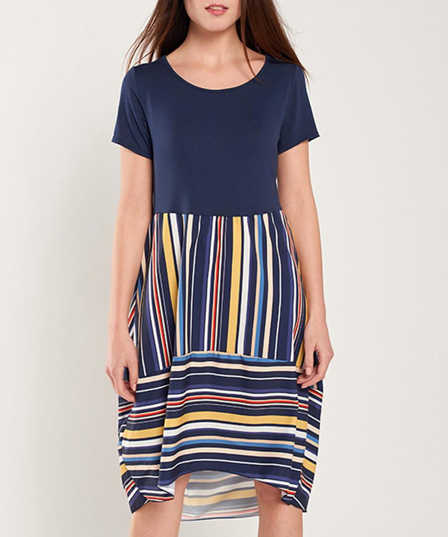 Navy & multi-stripe short sleeve dress Sale - dioxide