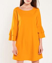 Yellow layered sleeve mini dress