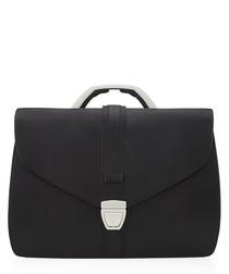 black leather fold briefcase