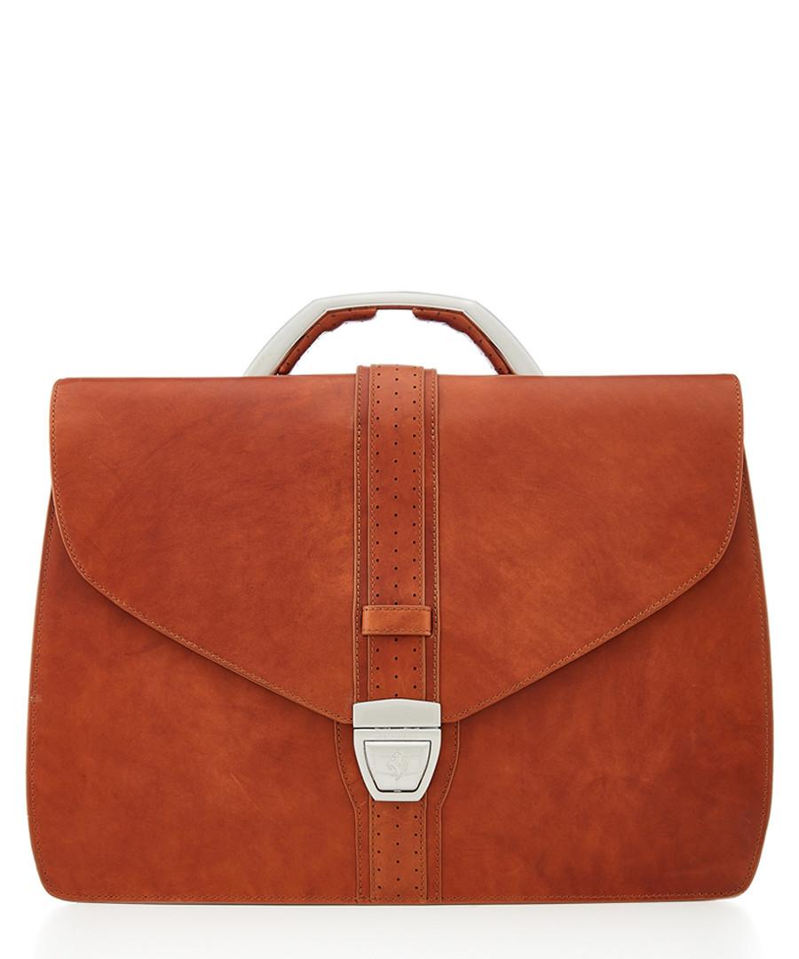 tan leather fold briefcase Sale - Ferrari