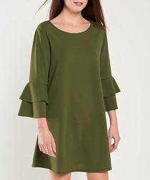 Khaki layered sleeve mini dress