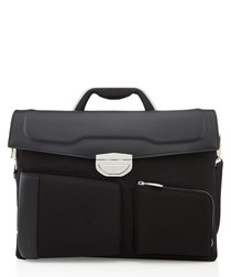 black canvas & leather fold briefcase