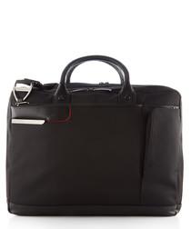 black canvas & leather business travel bag