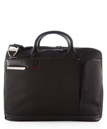 black leather & canvas briefcase