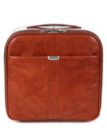 tan leather trolley case 44cm