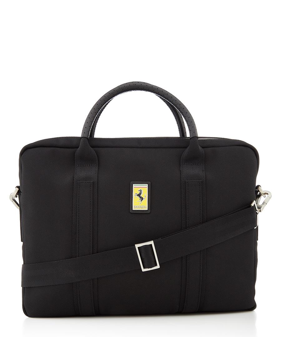 black canvas logo briefcase Sale - ferrari