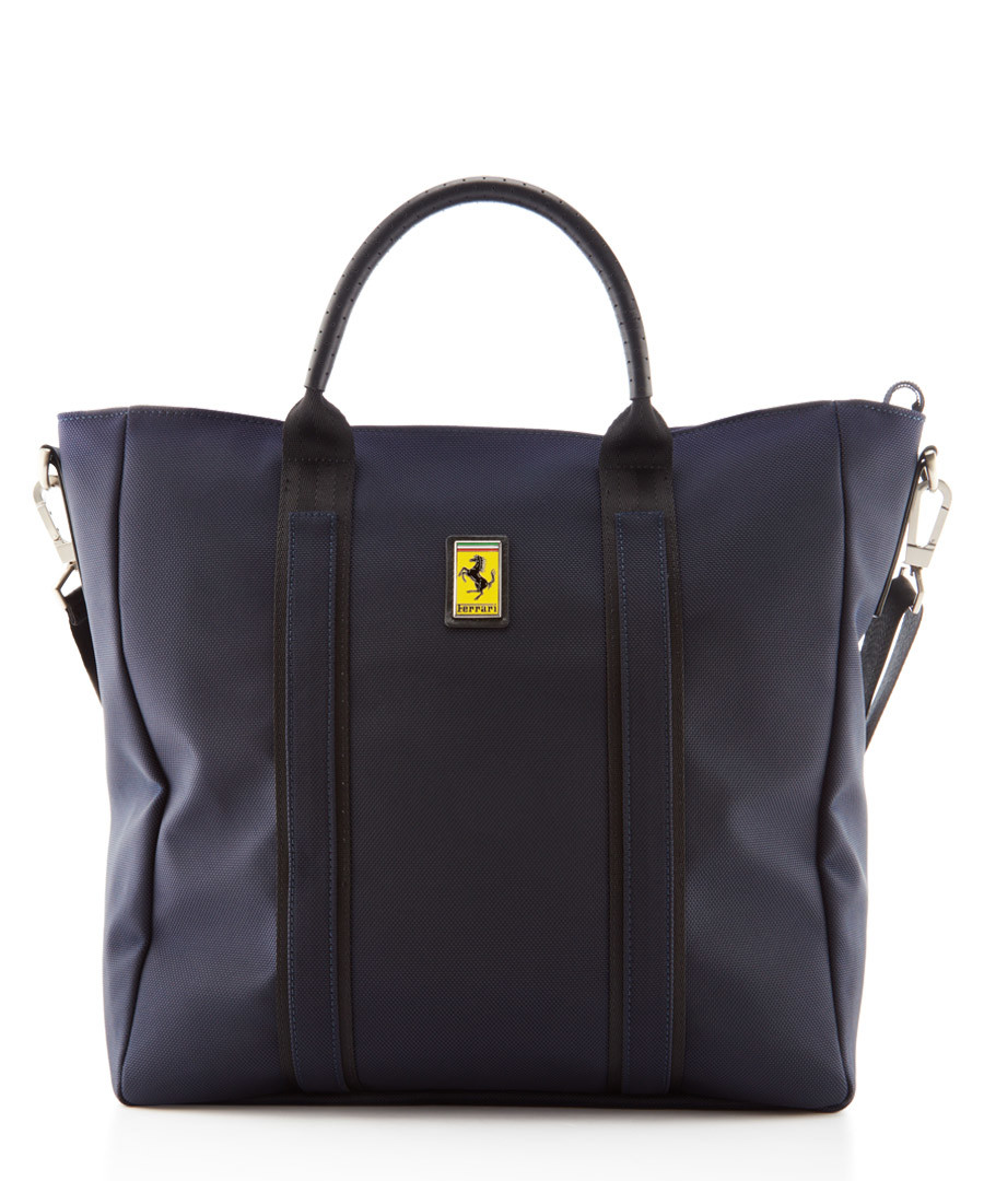 navy canvas logo tote bag 39cm Sale - Ferrari