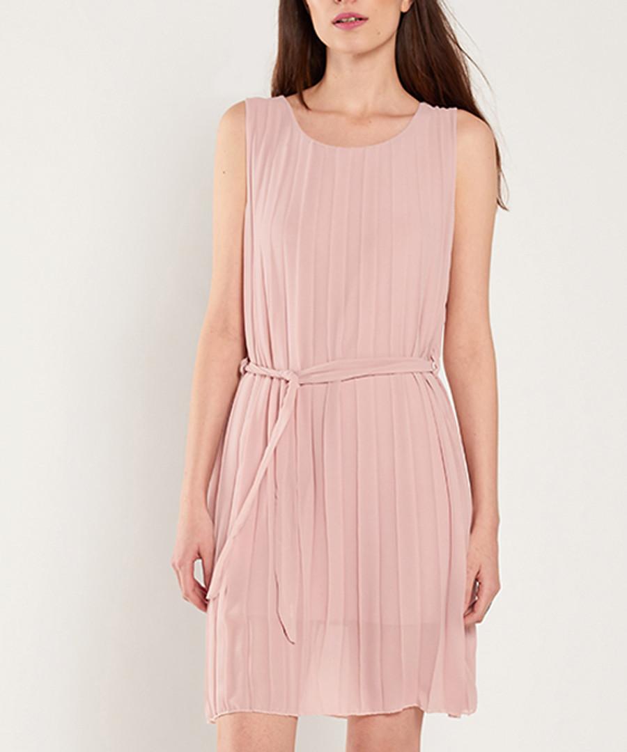 Pale pink pleated mini dress Sale - dioxide