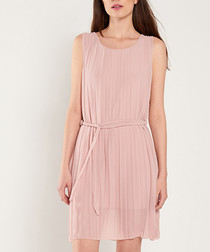 Pale pink pleated mini dress
