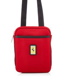 red canvas logo satchel