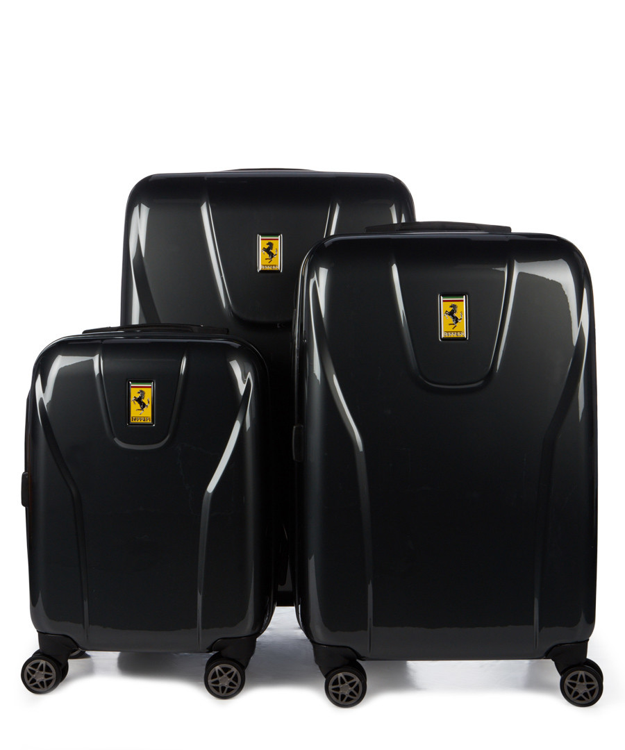 3pc black hard shell suitcase set Sale - ferrari
